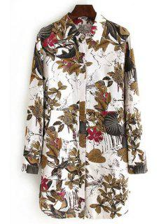 Long Sleeve Leaf Print Plus Size Shirt - 4xl