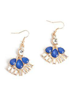 Delicate Flower Faux Crystal Earrings - Blue
