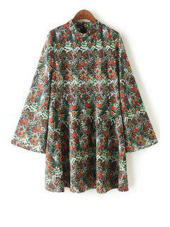 Floral Print Stand Collar Bell Sleeve Dress - Green Xl