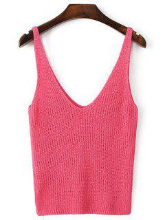 Knitted Plunging Neck Tank Top - Rose M