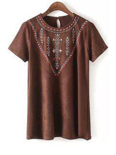 Suede Round Collar Short Sleeve Dress - Brown L