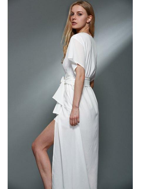 outfits Deep V Neck Layered Chiffon Dress - WHITE S Mobile