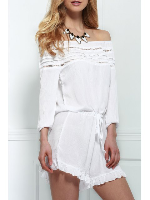 new Off-The-Shoulder Drawstring Design Romper - WHITE M Mobile