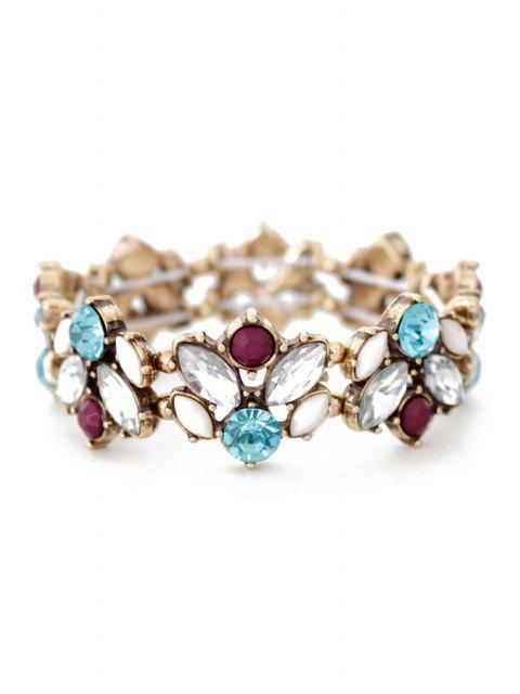 women Faux Crystal Floral Cuff Bracelet -   Mobile