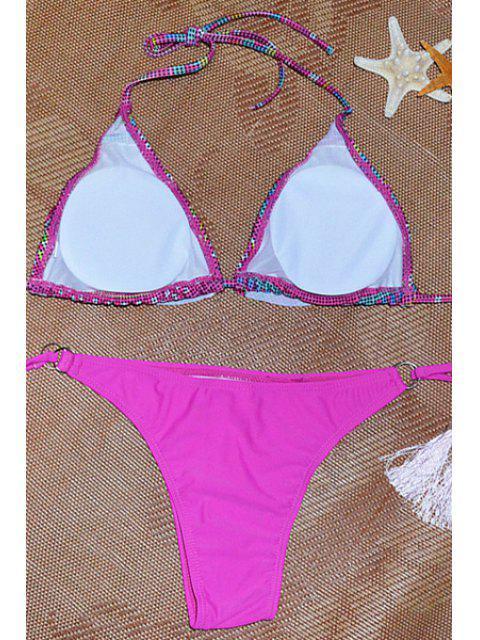 women's Fringe Geometric Pettern Halter Bikini Set - ROSE S Mobile