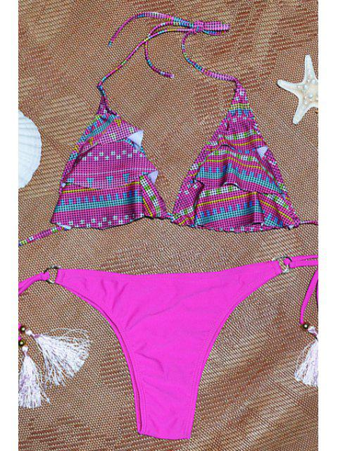 lady Fringe Geometric Pettern Halter Bikini Set - ROSE L Mobile
