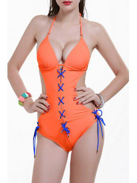 womens Backless Halter Lace Up One Piece Swimwear - ORANGE L Mobile