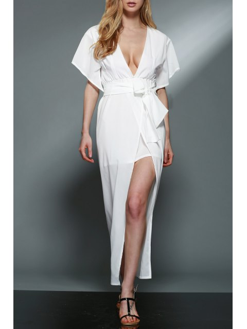 shops Deep V Neck Layered Chiffon Dress - WHITE L Mobile