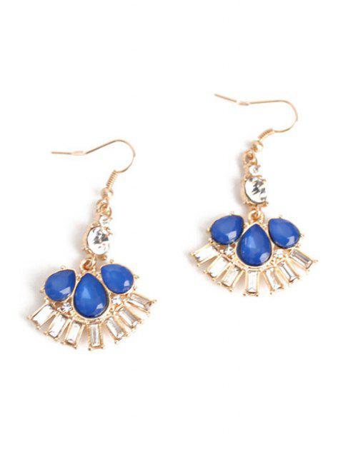 lady Delicate Flower Faux Crystal Earrings - BLUE  Mobile
