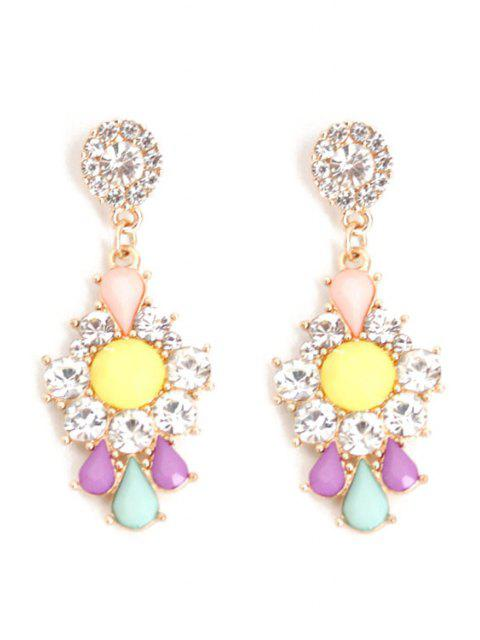women's Rhinestone Floral Drop Earrings -   Mobile