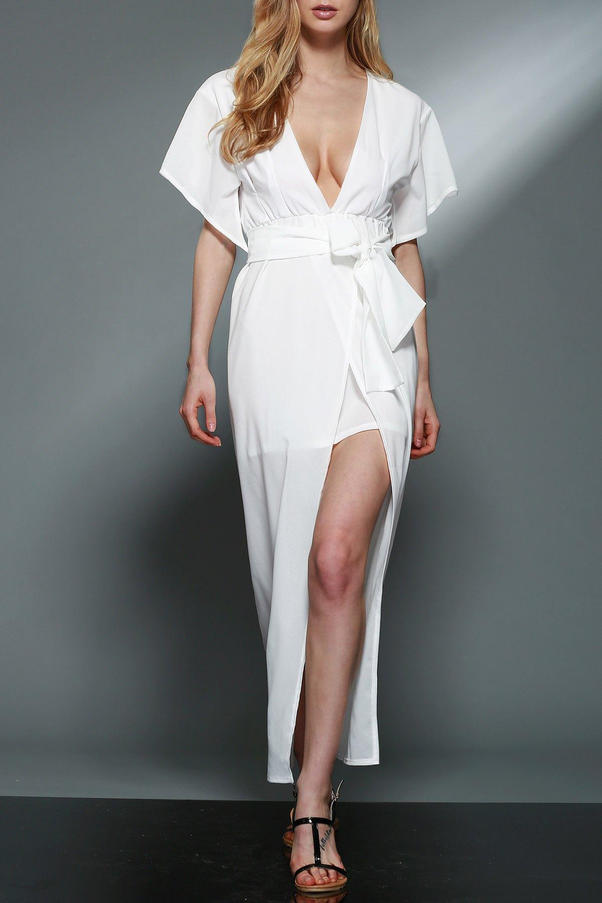 Plunging Neck Layered White Chiffon Dress