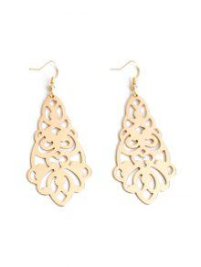 Flower Hollow Out Earrings - Golden