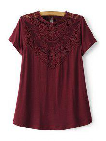 Lace Spliced Round Collar Short Sleeve T-Shirt - Wine Red M