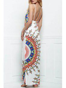 فستان طباعة حرير شاطئ - أبيض L