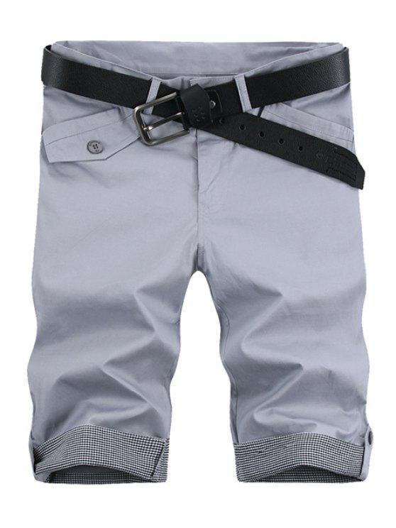shop Fashion Plaid Cuff Pocket Zip Fly Shorts For Men - LIGHT GRAY 31