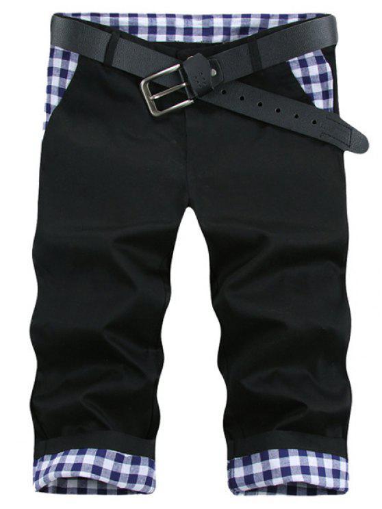 Pierna recta de la tela escocesa Imprimir Pantalones cortos de empalme mosca de la cremallera de los hombres de - Negro 29