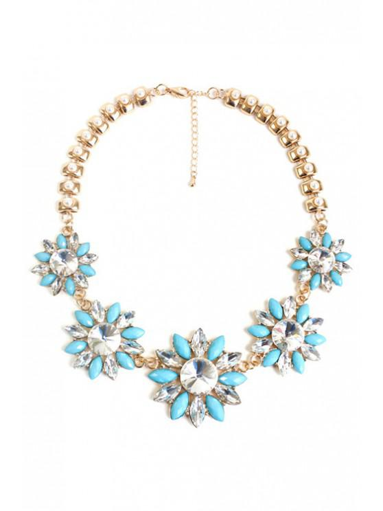 chic Faux Pearl Floral Necklace - LIGHT BLUE