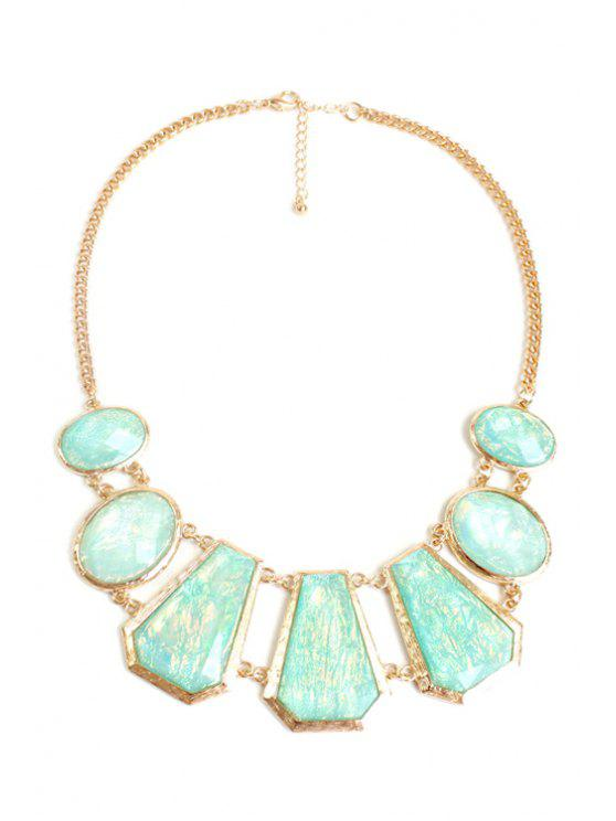 affordable Geometric Faux Gemstone Necklace - GOLDEN