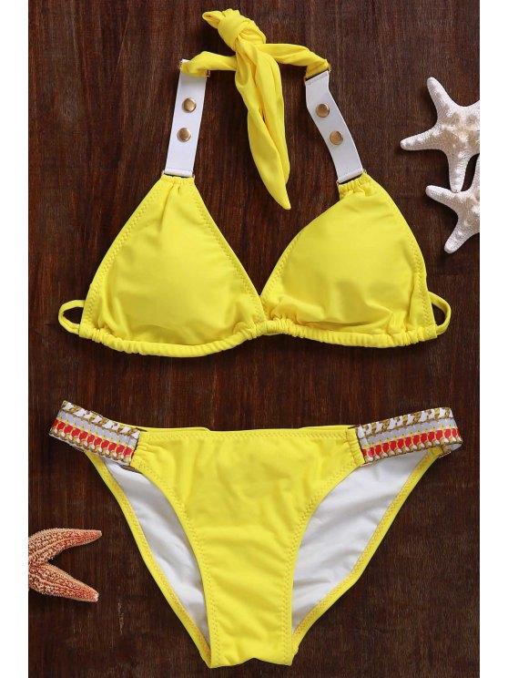 Lace Up Halter Bikini Set - Jaune M