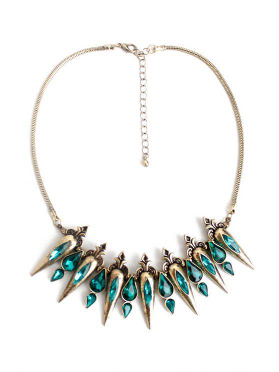 fancy Faux Crystal Water Drop Necklace - GREEN