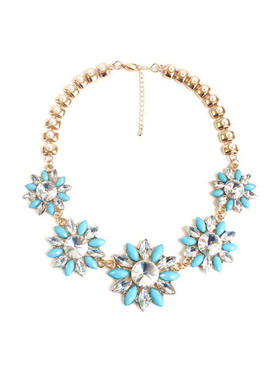 chic Faux Pearl Floral Necklace - LIGHT BLUE