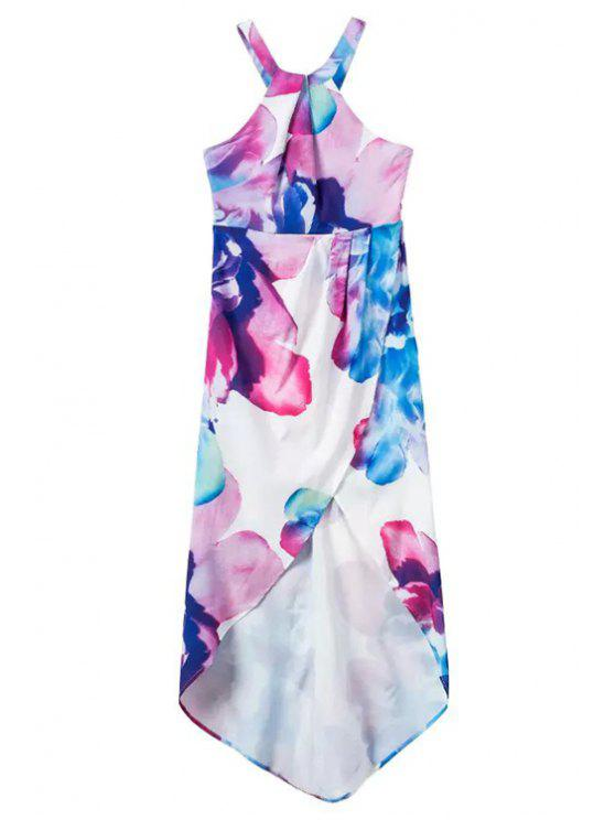 Irregular Hem Halter Flower Print Dress - Blanc S