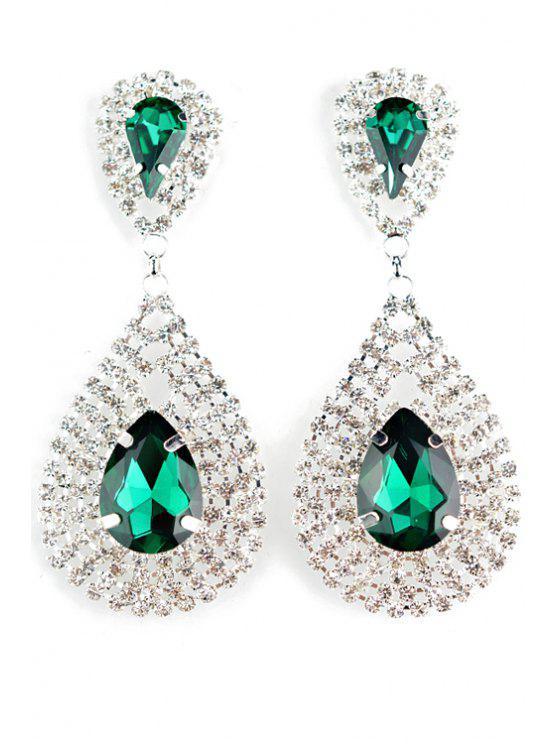 women Pair of Water Drop Faux Crystal Earrings - GREEN