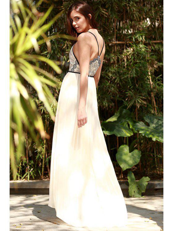 Vestido Fluido Plisado de Gasa con Bordado - Blancuzco XL