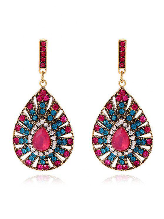 fashion Rhinestoned Water Drop Earrings - ROSE