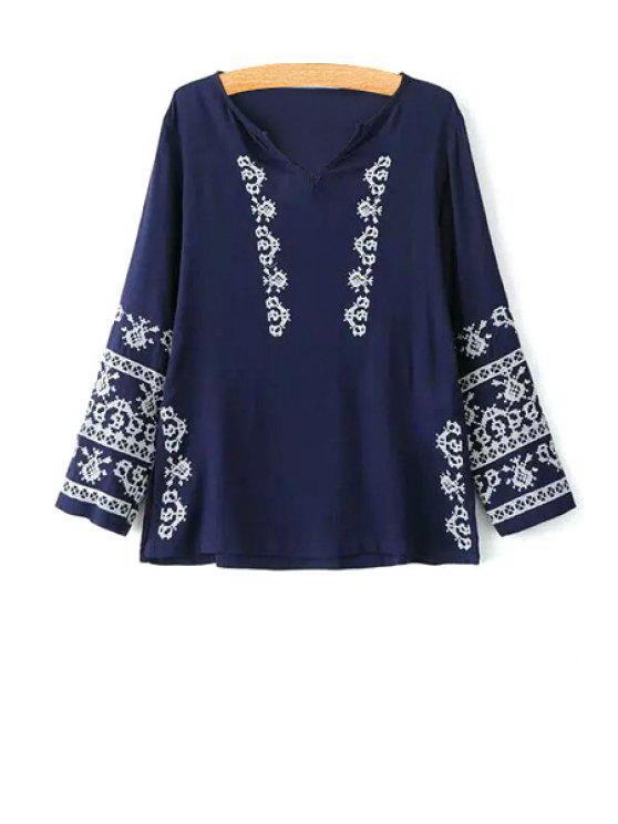 Bordado con cuello en V manga larga blusa - Azul Purpúreo M