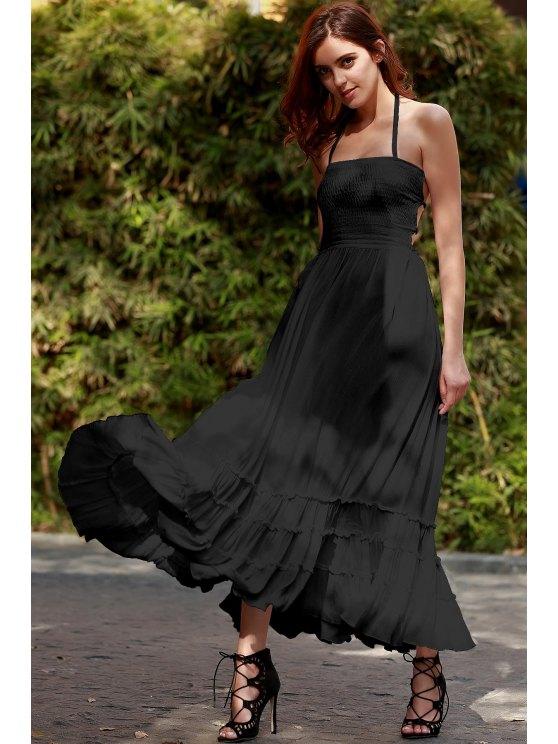 Color sólido abierta cabestro vestido sin mangas Volver - Negro XL