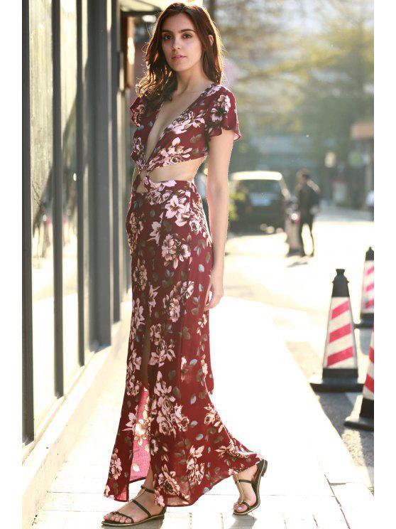High Slit Plunging Neck Short Sleeve Floral Print Dress - Red