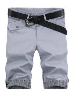 Fashion Plaid Cuff Pocket Zip Fly Cinq Pantalons Pour Hommes - Gris Clair 31