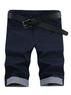 Moda Tela Escocesa Banda De Bolsa Con Cremallera Y Cinco Pantalones Para Los Hombres - Azul Marino  31