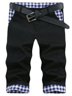 Straight Leg Plaid Print Splicing Zipper Fly Men's Shorts - Black 32