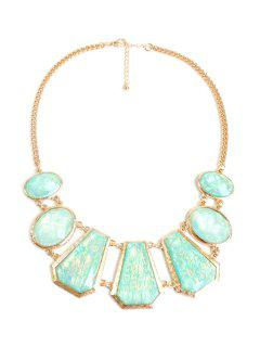 Geometric Faux Gemstone Necklace - Golden