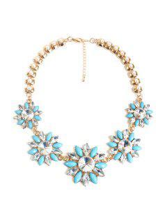 Faux Pearl Floral Necklace - Light Blue