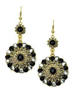Bohemia Faux Crystal Round Earrings - Black