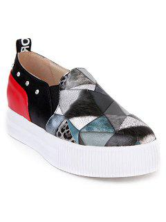 Fashion Color Block And PU Leather Design Platform Shoes For Women - Black 39