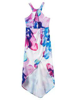 Irregular Hem Flower Print Dress - White S