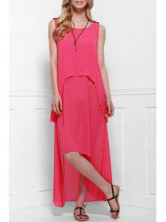 Irregular Hem Layered Pink Dress - Pink Xl