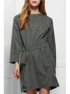 Long Sleeve Loose-Fitting Dress With Belt - Gray