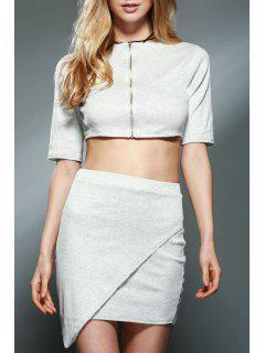 Half Sleeve Crop Top + Pencil Mini Skirt Twinset - Light Gray Xl