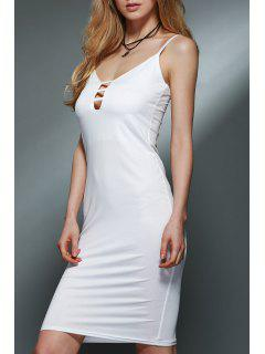 Spaghetti Strap Low Cut Sheath Dress - White L