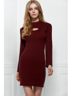 Cut Out Mock Neck Long Sleeve Sweater Dress - Dark Red Xl
