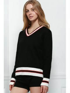 Loose Fitting V-Neck Long Sleeve Sweater - Black Xl