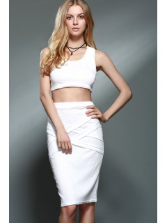 Solid Color Cropped Tank Top And Bodycon Skirt Twinset - White L