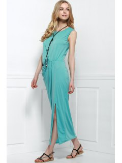 High Slit Round Collar Sleeveless Pleated Dress - Azure