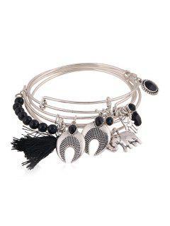 Ethnic Knitting Tassel Elephant Bracelet - Black