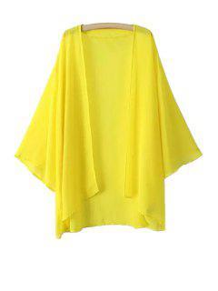 Chiffon Long Sleeve Kimono Blouse - Yellow L